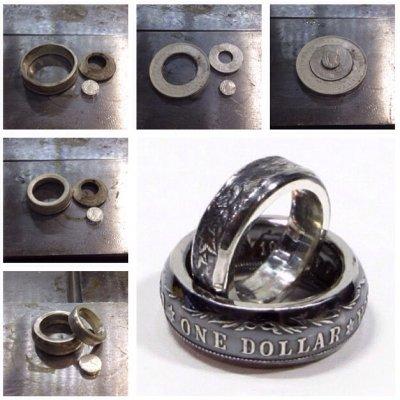 画像2: 指輪/コインリング/モルガンダラー銀貨/1枚の銀貨からペアリング/silver900/