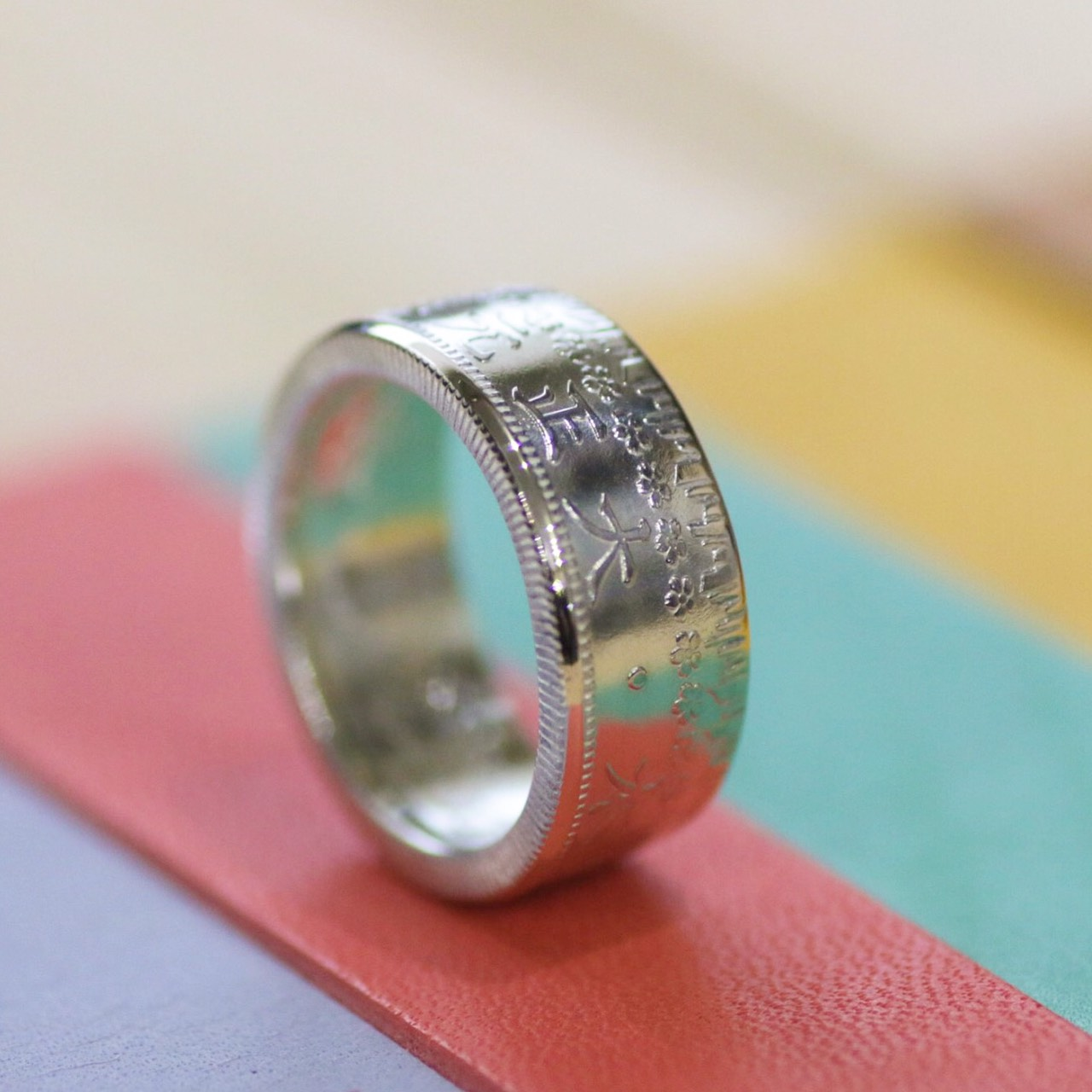 画像1: 指輪/50銭銀貨/平打ちリング/桜/silver800 (1)