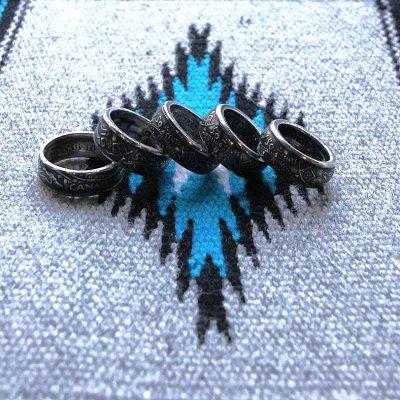 画像1: 指輪/コインリング/カナダ銀貨/大きい王冠/紋章/silver800