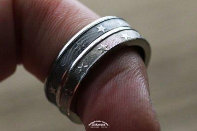 画像1: 指輪/スターコインリング/シルバー色
