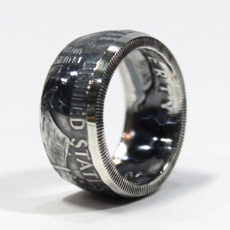 画像1: 指輪/コインリング/フランクリン銀貨/ハーフダラー/silver900 (1)
