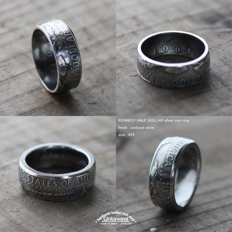 画像1: 指輪/コインリング/ケネディ銀貨/イーグル/1964年/silver900 (1)