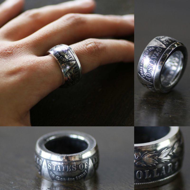 画像1: 指輪/甲丸リング/コインリング/モルガンダラー銀貨/silver900 (1)